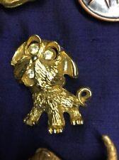 Vintage Cute Griffon Brussels Bruxellois Ewok Crystal Eye Dog brooch Gold plated