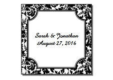 60 Personalized Square Floral Damask Glossy Wedding Favor Labels Stickers 2X2""