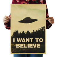 """Vintage Classic Wall Stickers X FILES """"I Want To Believe"""" Poster Home Decor DIY"""