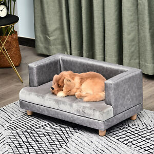 Pet Sofa Dog Cat Bed Couch Wooden Plush Cover Foam Cushion Grey 68 x 41 x 32 cm