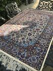 """Hand Knotted P E R S I A N Rug Antique Wool Silk ~ 42"""" By 61"""" Blue/Red/Brown"""