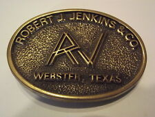 Vintage Belt Buckle Robert J. Jenkins & Co. Webster, Texas Solid Brass