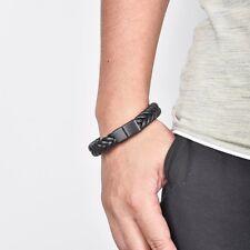 Black Braided Leather Bracelet Titanium Jewelry Party Bangle Gift Cuff Wrap