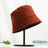 Lady Corduroy Bucket Fishing Hat Caps Bush Outdoors Retro Casual Fashion Solid