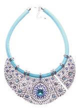 Layla Chrome Bib/ Blue Gem Droplet Centre & Blue Chord Statement Necklace(Ns16)