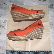 Tory Burch Orange Wedges Display Model New Msrp 195$ Size 7 W/ Dust Bag. No Box