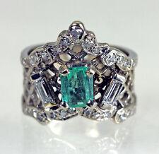 Rare Antique Crown Emerald Diamond 14K White Gold Ring Grand!