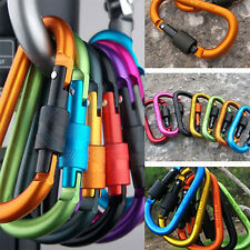 12x Alloy Mountaineering Carabiner Clip Locking Buckle D-Ring Hook KeyChain Hunt