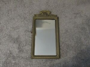 """Antique Victorian Wall Mirror w/Crested Top & Reverse Etched- Frame 12""""X23"""""""