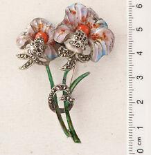 Alte  Blumen-Brosche,  Silber, Markasiten, 2  Korallen