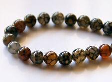 50pcs 8mm Round Natural Gemstone Beads - Coffee Dragon Vein Agate