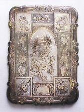 ANTIQUE SILVER CARD CASE, ENGRAVED, HALLMARK BIRMINGHAM 1853, MINT CONDITION