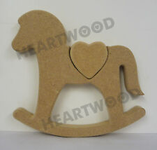 ROCKING HORSE WITH HEART SHAPE IN MDF (150m x 18mm thick)/WOODEN/DECORATION
