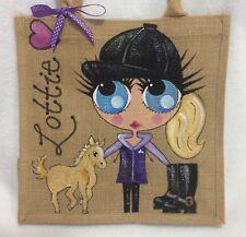 Pintado A Mano Personalizado De Yute Celebrity Chica Con Pony Caballo bolso bolso de mano -
