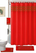 18 Piece Embroidery Set shower curtain,12 hooks, Bath Mat, Contour Mat 3 towels.