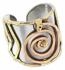 Welded Mixed Metal CUFF RING, Spiral Design, One Size, by Anju