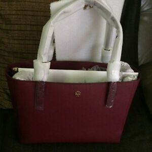 NWT TORY BURCH Emerson Small Buckle Tote - Imperial Garnet color