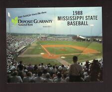 Mississippi State Bulldogs-1988 Baseball Schedule-Deposit Guaranty National Bank