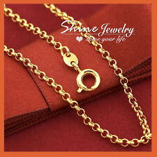 9K GOLD FILLED 2mm Round BELCHER CHAIN RING LINK SOLID NECKLACE for Pendant 45cm