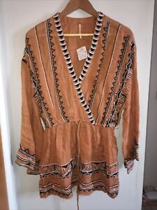 Free People Saffron Embroidered Tunic Top. In Terracotta Size Medium