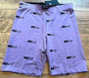 NIKE Air Purple Black Logo Yoga Gym Athletic Biker Shorts wmns M new NWT BV9008