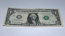 2013 $1 Dollar Bill US Note Italy Zip Postal Code 000 64023 Fancy Money Serial #