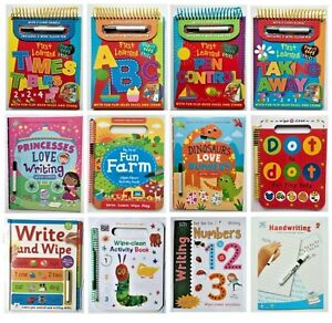 Wipe-clean Workbooks ABC 123 times-tables words simple maths dot-to-dot pen New