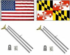 3x5 Usa American & State of Maryland Flag & 2 Aluminum Pole Kit Sets 3'x5'