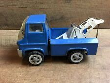 """Louis Marx Toy Wrecker Tow Truck Blue 6 Inch Metal Vintage 6"""" Long Used Japan"""