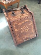 Antique English Inlaid Wood Coal Bin Fireplace Fire Scuttle Box 1850 London Art
