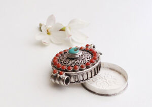 Round Tibetan Buddhist Silver Sterling Ghau Pendant with Resin Coral & Turquoise