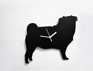 Pug Dog Silhouette - Wall Clock