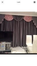 DESIGNER CURTAINS SWAGS & TAILS PLAIN SILVER GREY  & PINK /