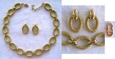 ALTES GOLDENES COLLIER + OHRCLIPS - CHRISTIAN DIOR - VINTAGE - 46 cm + 5 cm