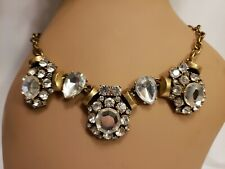 J CREW Teardrop Round Crystal Gold Statement Necklace