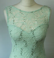 Lipsy Bodycon Dress Pastel Green Lace Sequin Embellished Races Prom Party UK 10
