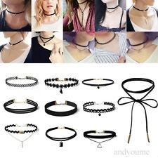 10 Stk Elegant Schwarz Collier Halskette Set Gothic Tattoo Spitze Choker Ketten