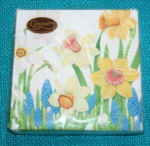 40 Caspari Easter Spring Napkins 3Ply 5x5 Jonquil Daffodil Floral Party Embossed