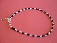 extender hippy boho mod retro 80s Black and White seed bead anklet 26cms