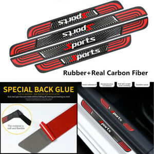 4x Rubber+Real Carbon Fiber Car Door Scuff Sill Panel Anti-Scratch Protect Cover