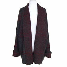FREE PEOPLE NWT Gray Red Speckled Plaid Boho Blanket Sweater Coat Sz - M/L $198