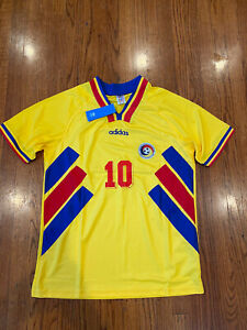 VTG ADIDAS ROMANIA SOCCER JERSEY FOOTBALL SHIRT 1994 HAGI #10