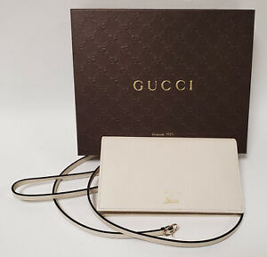 GUCCI WALLET 368231 SWING WHITE LEATHER WITH STRAP SHOULDER BAG LOGO TRADEMARK