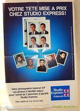 AFFICHETTE publicité POLAROID 1990 - Votre TETE mise à prix chez STUDIO EXPRESS