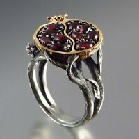 Vintage 925 Silver Gold Pomegranate Garnet Gems Wedding Ring Party Jewelry #6-10