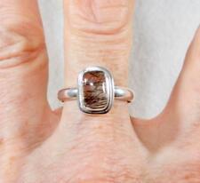 Small Black Rutilated Quartz Rectangle Ring w/Border 925 Sterling Silver Size 10