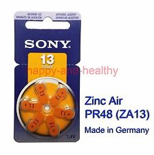 6pcs x Sony 13 ZA13 PR48 Zinc Air hearing aid batteries German made FREE ship