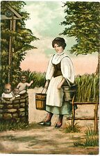 FANTASY Edwardian BABIES Wishing Well Forest Collage 2 Vintage Colour PCs c1910s