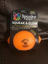 Spunky Pup Squeak & Glow Orange Football Dog Toy