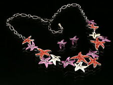 Modern art red pink seastar star fish resin beads chain necklace earrings N35